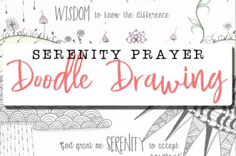 Serenity Prayer surrounded by Zentangle inspired doodle drawings   muchnessmama.com   yoga for the brain   benefits of zentangle