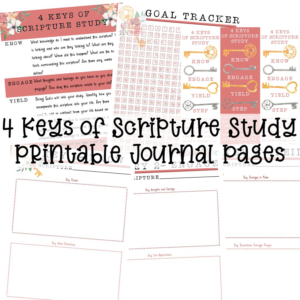 Four Keys of Scripture Study Printable Journal Pages | muchnessmama.com | bible journaling | scripture journaling | scripture study | Bible Study